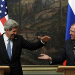 Russia's Foreign Minister Sergei Lavrov (R) and U.S. Secretary of State John Kerry react during a joint news conference after their meeting in Moscow, May 7, 2013. The U.S. secretary of state sought Russian help in ending Syria's civil war on Tuesday, telling President Vladimir Putin in Moscow that common interest in a stable Middle East could bridge divisions among the big powers. REUTERS/Sergei Karpukhin (RUSSIA - Tags: POLITICS CONFLICT TPX IMAGES OF THE DAY) - RTXZE2F