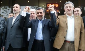 Ex-Iranian President Mahmoud Ahmadinejad (C) is seen as he submits his name for registration as a candidate in Iran's presidential election, in Tehran, Iran April 12, 2017. Tasnim News Agency/Handout via REUTERS
