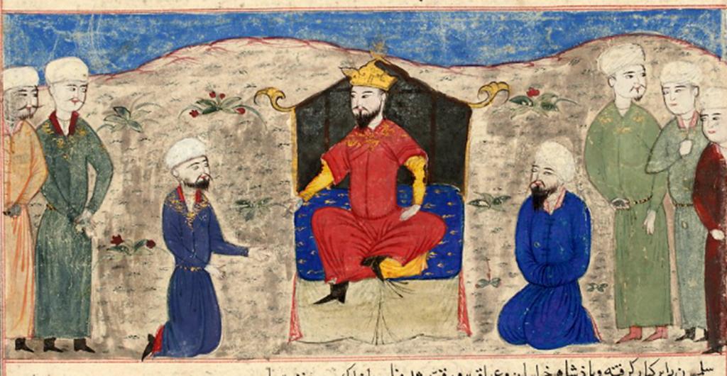 Alp_Arslan_on_throne_Majma_al-Tawarikh_by_Hafiz_Abru