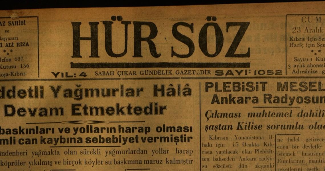 Hür Söz Gazetesi, 23 Aralık 1949
