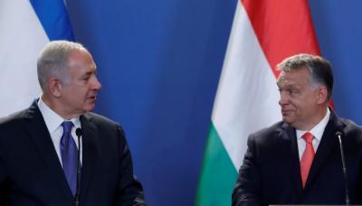 Hungarian Prime Minister Viktor Orban (R) and Israeli Prime Minister Benjamin Netanyahu attend a news conference in Budapest, Hungary, July 18, 2017.  REUTERS/Bernadett Szabo