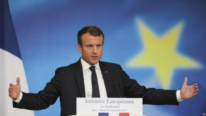 French President Emmanuel Macron delivers a speech on the European Union at the amphitheater of the Sorbonne university in Paris, France, Tuesday, Sept. 26, 2017.  Macron is laying out his vision Tuesday for a more unified Europe, with a joint budget for countries sharing the euro currency and a stronger global voice despite Brexit looming. (Ludovic Marin/Pool Photo via AP)