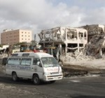 Ambulances carrying wounded victims passes  the scene of Saturday's deadliest truck bomb blast.as they head to airport   to be airlifted by Turkish air ambulance for treatment in Turkey, in Mogadishu, Somalia, Monday, Oct, 16, 2017. The death toll from Saturday's truck bombing in Somalia's capital now exceeds 300, the director of an ambulance service said Monday, as the country reeled from the deadliest single attack. (AP Photo/Farah Abdi Warsameh)