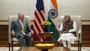 Secretary of State Rex Tillerson listens to Indian Prime Minister Narendra Modi during their meeting at the Prime Minister's residence, Wednesday, Oct. 25, 2017, in New Delhi, India. (AP Photo/Alex Brandon, Pool)