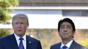 US President Donald Trump (L) meets with Japanese Prime Minister Shinzo Abe upon his arrival at the Kasumigaseki Country Club in Kawagoe, near Tokyo, Japan, 05 November 2017. After Japan, President Trump is to visit South Korea, China, Vietnam and the Philippines during his Asian trip.