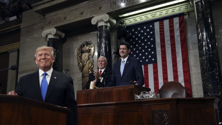 WASHINGTON, DC - JANUARY 30:  U.S. President Donald J. Trump (L) stands at the podium as U.S. Vice President Mike Pence (C) and Speaker of the House U.S. Rep. Paul Ryan (R-WI) (R) look on during the State of the Union address in the chamber of the U.S. House of Representatives January 30, 2018 in Washington, DC. This is the first State of the Union address given by U.S. President Donald Trump and his second joint-session address to Congress.  (Photo by Win McNamee/Getty Images) *** Local Caption *** Donald J. Trump; Mike Pence; Paul Ryan
