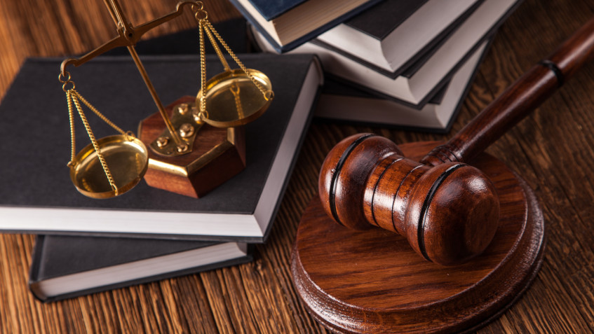 Mallet legal code and scales of justice. Law concept studio shots