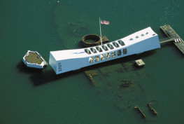 Hawaii, Oahu, Pearl Harbor, aerial over Arizona Memorial, ship right beneath surface.