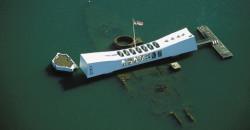 Hawaii, Oahu, Pearl Harbor, aerial over Arizona Memorial, ship right beneath surface.